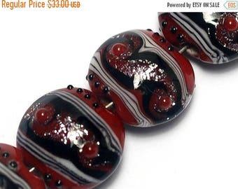 ON SALE 35% OFF Four Disco Night 1 Stardust Lentil Beads - Handmade Glass Lampwork Bead Sets 10705712
