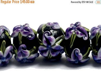 ON SALE 35% OFF New! Handmade Glass Lampwork Bead Set - 10205701 Seven Purple Iris Rondelle Beads