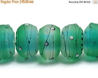 ON SALE 35% OFF New! Handmade Glass Lampwork Bead Set - 10508801 Seven Emerald City Rondelle Beads