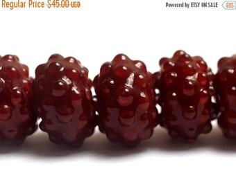 ON SALE 30% off NEW! Handmade Glass Lampwork Bead Set - 10707201 Seven Bordeaux Rondelle Beads