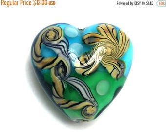ON SALE 30% off Tropical Tide Heart Focal Bead - Handmade Glass Lampwork Bead 11811905