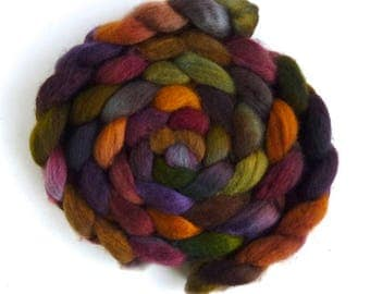 BFL Wool Roving - Hand Painted Spinning or Felting Fiber, Gilded Complements