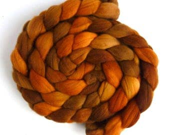 Pre-Order Colorway: Rambouillet Wool Roving - Hand Painted Spinning or Felting Fiber, Orange Shades