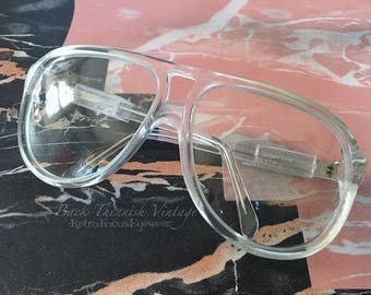 1970's Liberty USA True Vintage Aviator Goggle Clear Crystal Eyeglasses Eyewear Prescription Glasses Frames