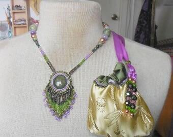 Beaded Unakite Necklace with Beaded Unakite Tassels Rain Forest Jasper Amethyst Jade Semiprecious Stone Gemstone Beads OlyTeam