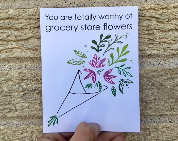 Grocery Store Flowers - Funny Greeting Card - Mother's Day - Father's Day - Anniversary - Birthday Card