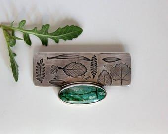 The Silence of Plants  … sterling silver,Jasper, botanic print, brooch