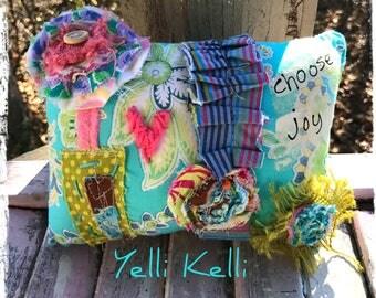 Choose Joy Mixed Media Mini Pillow Ready to Ship YelliKelli