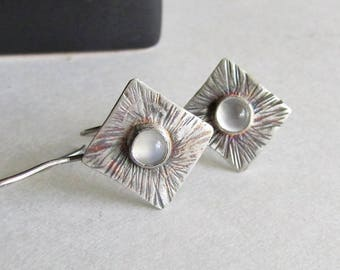 Moonstone Earrings with Textured Sunburst Pattern - 25th Anniversary - Birthday Gift - Textured Silver Earrings