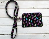 Lanyard With Zipper Pouch- Multicolor Birds