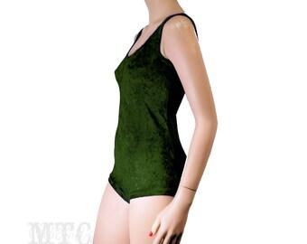 Crushed velvet bodysuit romper playsuit choose from 13 colors MTcoffinz festival rave