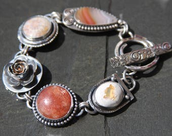 RESERVED for Connie oOo laguna agate, fossil coral, sunstone, fire opal, and sterling silver metalwork link bracelet