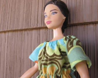 Handmade Curvy Barbie Dress made from an Amy Butler fabric called Belle Gothic Rose in Blue