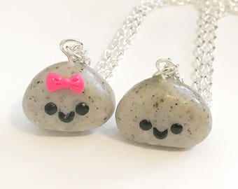 Kawaii Best Friend Pet Rock Necklaces, Polymer Clay, BFF Charms, Handmade Gift, Premo