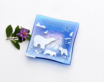 Fused glass dish with dichroic specks, plate, with white polar bears, square, home decor, glass ware,  blue and white, irridized