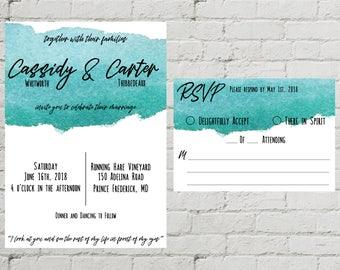 Blue Watercolor Printable Custom Digital Wedding Invitation and RSVP Set Modern Chic