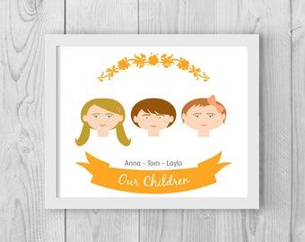 Our children, Family Tree, Custom Portrait, Family Tree Illustration, Family Tree Alternative Custom Illustration, son, daughter, Mother day