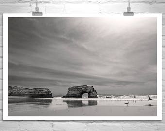 Santa Cruz, California Beach, Sepia, Art Photograph, California Coast, Pacific Ocean Art, Sea Arch, Natural Bridges