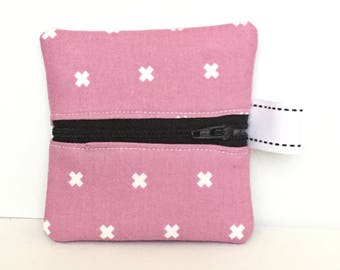 Small zipper pouch, earbud case, coin purse, front zip bag, gift card holder, change purse, gifts for her, gifts for teens, gifts under 10