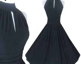 New 50s Style Retro Black Full Skirt Party Dress M Sleeveless Halter Keyhole Rockabilly Swing Cocktail Prom Dance Medium Wedding Bridesmaid