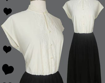 Vintage 80s Dress // Tuxedo Off White Lace Ruffle Buttons Black Dress XS S Secretary Day Casual Short Cap Sleeves Tux Cocktail Party