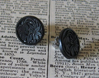Vintage Black Glass Flower and Leaves Button Post Earrings