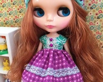 Hat & Dress Set for Blythe - Turquoise and purple set