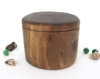 Black Walnut Tree Branch Wooden Box, groom gift, 5th anniversary, small cremation urn, wooden jewelry box, wood jar, pet urn, Christmas