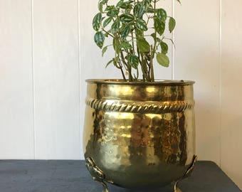 vintage brass planter - solid metal plant pot with feet - hammered gold Hollywood Regency