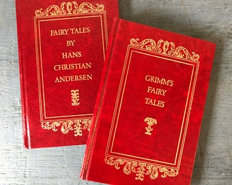 vintage books - Grimm's Fairy Tales - Fairy Tales by Hans Christian Andersen - Little Mermaid - Rapunzel - children's stories - 1973 edition