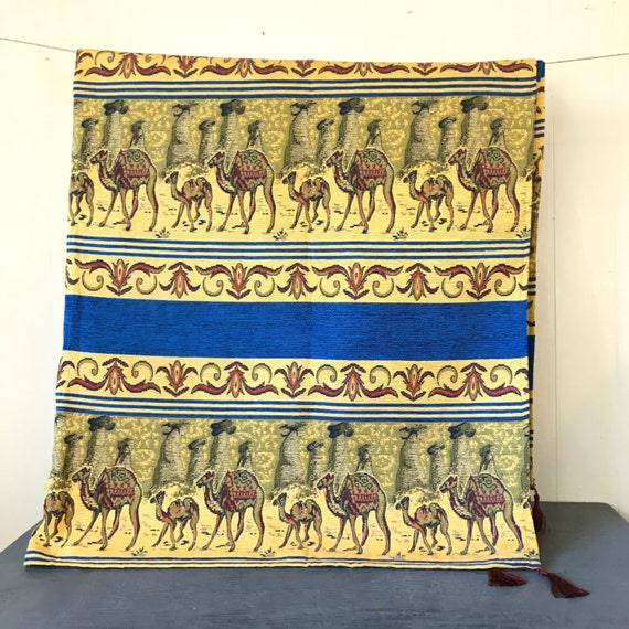 vintage camel tapestry - woven wall hanging - throw rug - bedspread - boho global Egypt - yellow blue red