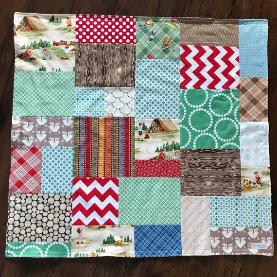 32x35 Camping Random Patchwork Blanket Ready to Ship