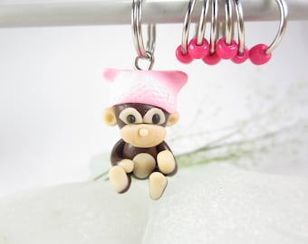 Monkey Stitch Markers, Monkey progress keepers, monkey planner charm pussy cat hat, knitting, gift for knitters, polymer clay animal cute