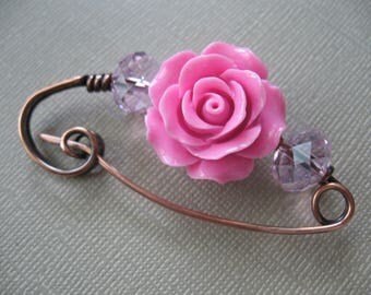 A Rose Copper Scarf Pin, Sweater Pin, Hat Pin, Shawl Pin, Closure