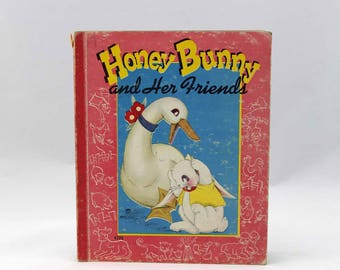 Honey Bunny & Her Friends - Illustrated by Helen Krock - Vintage Children's Book c. 1952 - An Easy-to-Read Book - Saalfield Publishing Co.