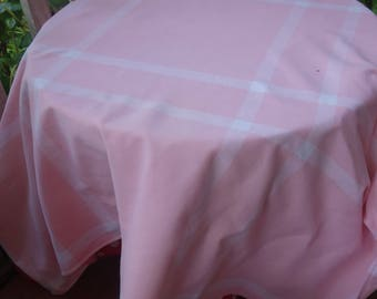 pretty  vintage pink cotton tablecloth 48x46 inches