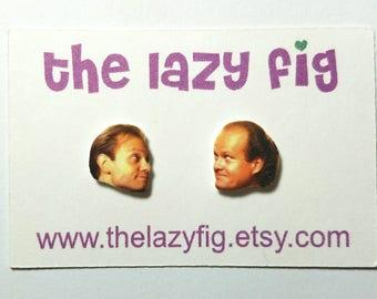 Niles and Frasier Crane - Frasier TV show - stud earrings