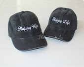 Baseball Caps Set of 2 Hats, Personalized Embroidery Happy Wife Happy Life Hat, Hubby Wifey, Bride and Groom Hats