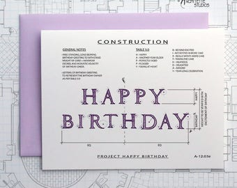 Project Happy Birthday (Purple) - Instant Download Printable Art - Construction Series
