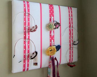 "16""x20"" Ribbon Board Will Hold Hair Clips, Headbands, Ponytail Elastics, Photos, Accessory Holder, Jewelry Organizer, White & Hot Pink"