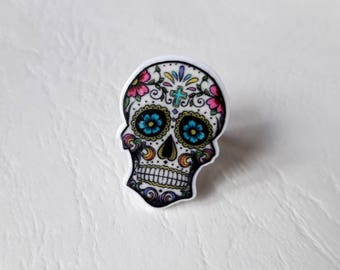 Colorful Mexican skull ring