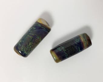Pair of Hand Made Lampwork Glass Beads - Barrel Shape - Gorgeous Boho Color - 27 mm