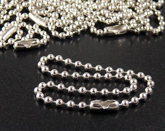 "Fan Pull 8"" Chain and Connector 5 Silver End Ceiling size 6 3.2mm Ball Chain (13conn06)xz"