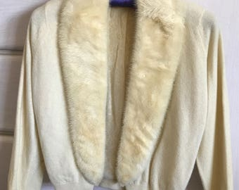 Vintage cashmere sweater with mink collar
