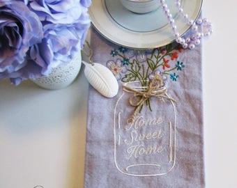 Home Sweet Home Embroidered Mason Jar Tea Towel