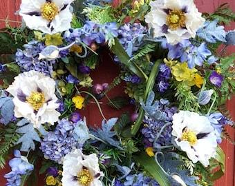 Spring Wreath...Garden Wreath....Spring Door Wreath....Hydrangea Wreath....Poppy Wreath