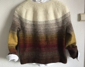Hand knit sweater in light weight Icelandic wool -  size M