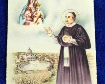 St Anthony Mary Claret Holy Card with Relic and Prayer for the Cure of Cancer 20933