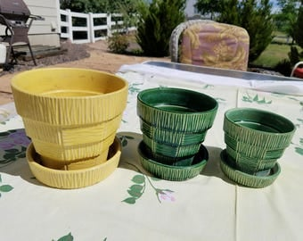 Three (3) Vintage McCoy Pots, Green and Yellow Basketweave Style Flower Pots, Planters