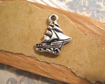 Clipper Ship Charm in Antique Fine Silver from Tierracast